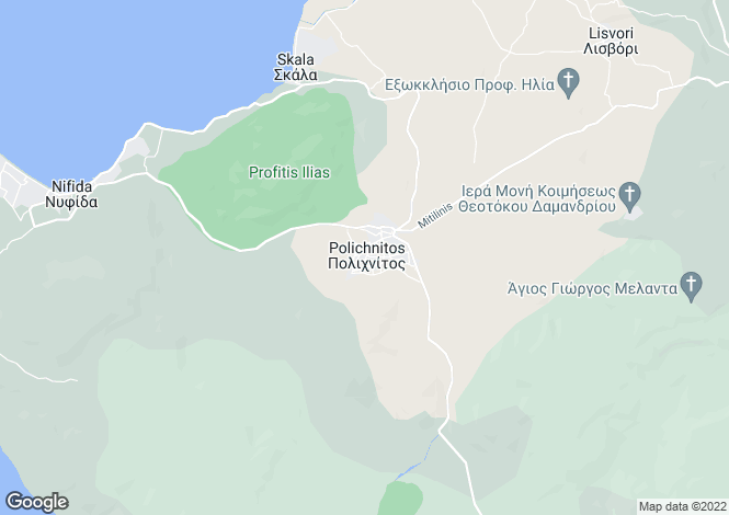 Map for Northern Aegean islands, Lesbos, Polichnitos