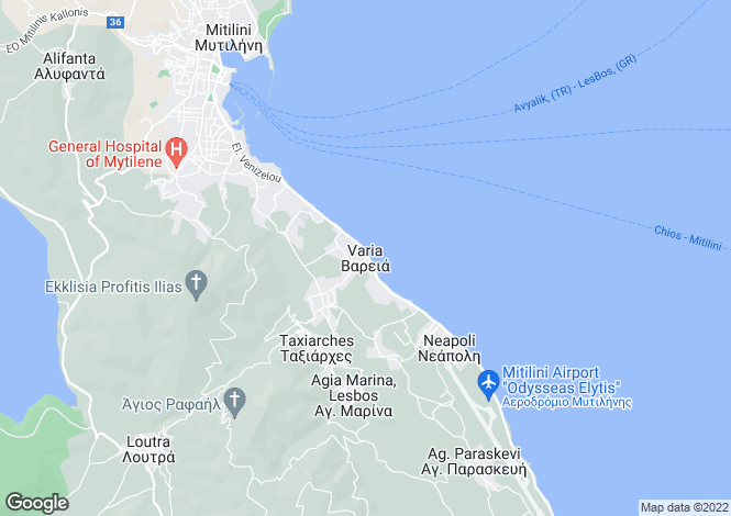 Map for Varia, Lesbos, Northern Aegean islands