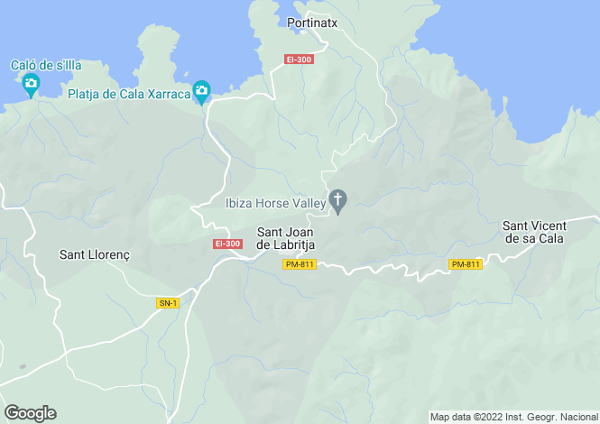 Map for Sant Joan De Labritja, Ibiza, Balearic Islands