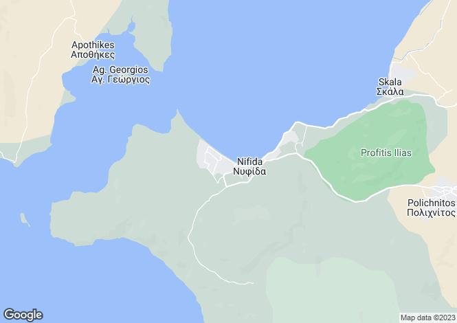 Map for Northern Aegean islands, Lesbos, Nyfida