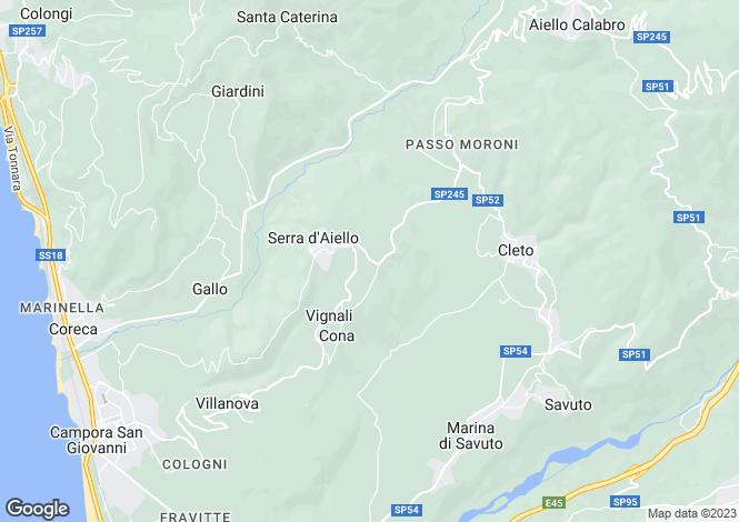 Map for Serra d'Aiello, Cosenza, Calabria