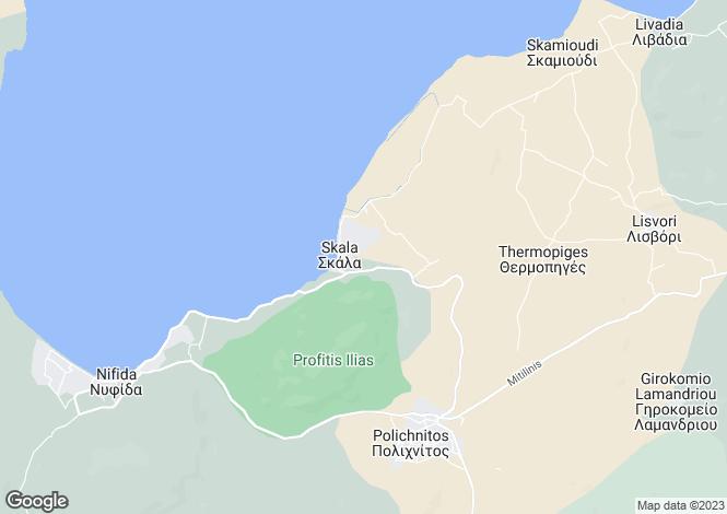 Map for Northern Aegean islands, Lesbos, Skala Polichnitos