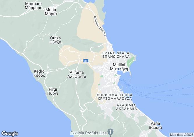 Map for Mytilini, Lesbos, Northern Aegean islands