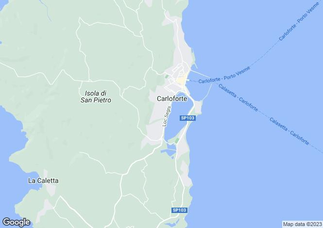 Map for Sardinia, Cagliari, Carloforte