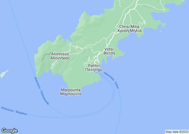 Map for Alonissos, Sporades Islands, Greece