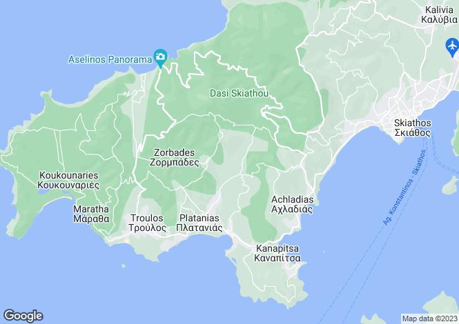 Map for Northern Aegean islands, Sporades Islands, Skiathos