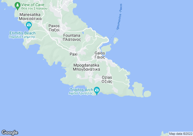 Map for Paxos, Ionian Islands
