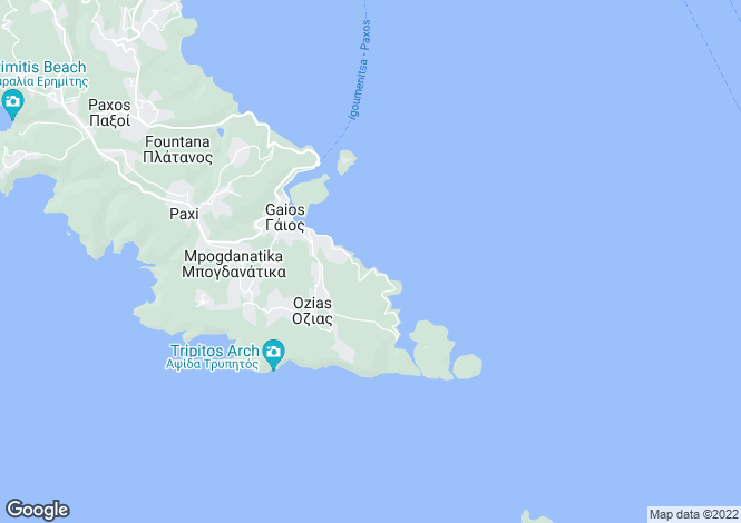 Map for Ionian Islands, Corfu, Paxoi