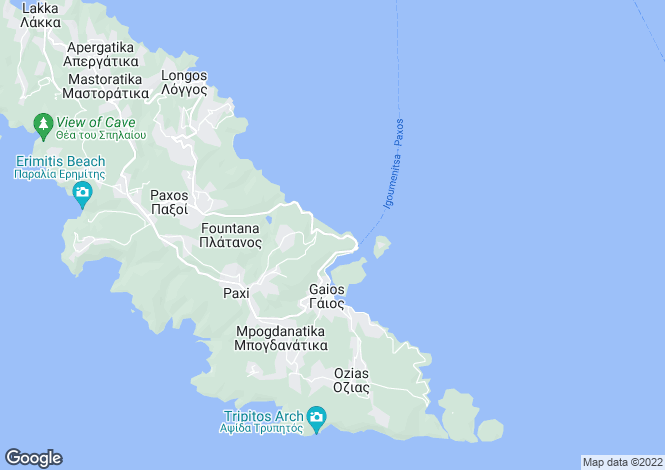 Map for Paxos Plot, Paxos, Greece