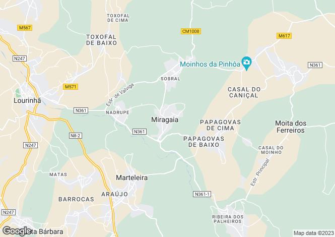 Map for Miragaia e Marteleira, Lourinhã, Lisboa