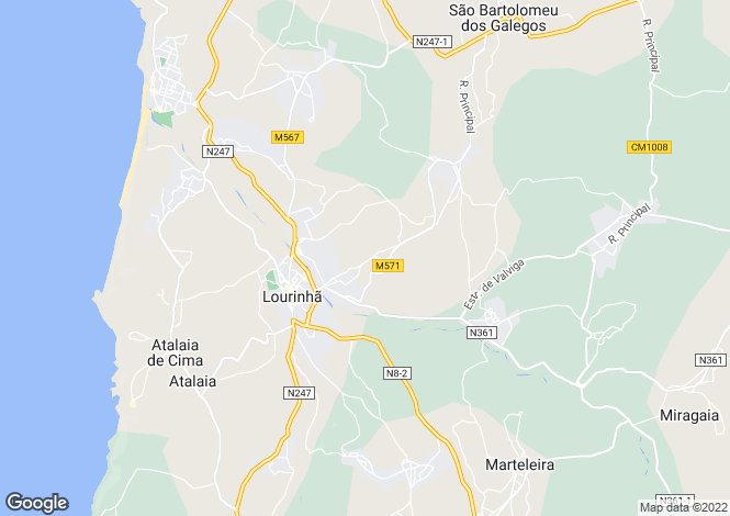 Map for Lourinha, Silver Coast, Portugal