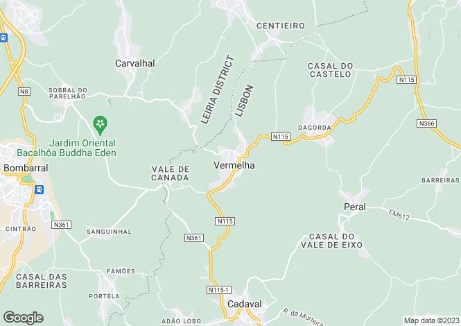 Map for Lisbon, Cadaval