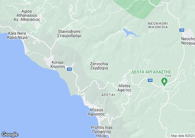 Map for Zervochia, Pilio, Greece