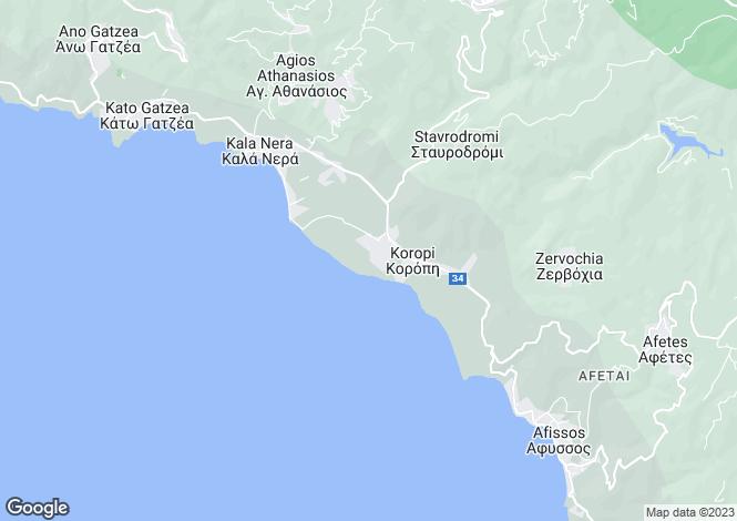 Map for Koropi, Pilio, Greece