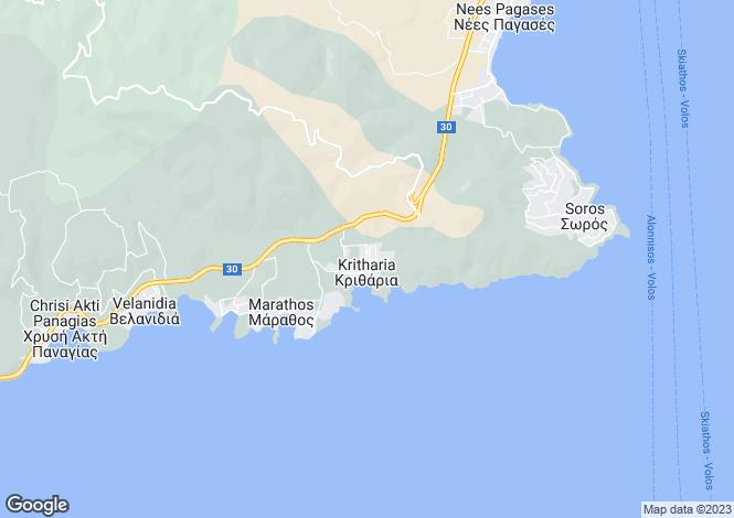 Map for Kritharia, Nea Achialos, Greece