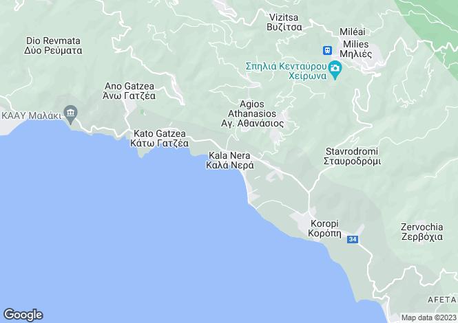 Map for Kala Nera, Pilio, Greece