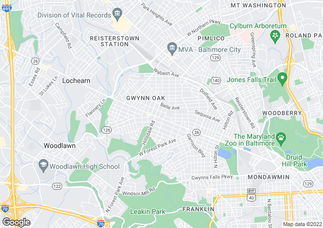 Map for USA - Maryland, Baltimore City, Baltimore
