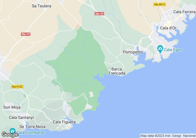 Map for Cala Mondrago, Mallorca, Balearic Islands