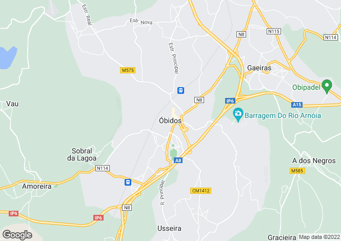 Map for Obidos, Silver Coast, 2510, Portugal