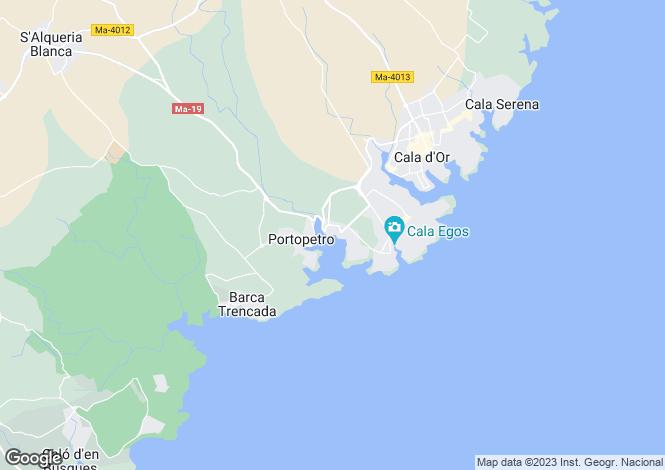 Map for Porto Petra, Mallorca, Balearic Islands