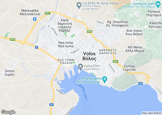 Map for Volos, Magnesia, Greece