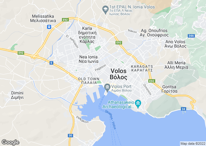 Map for Thessalia, Magnesia, Volos