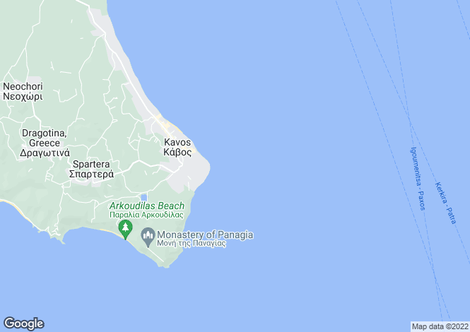 Map for Ionian Islands, Corfu, Kavos