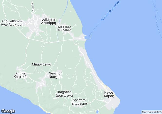 Map for Ionian Islands, Corfu, Lefkimmi