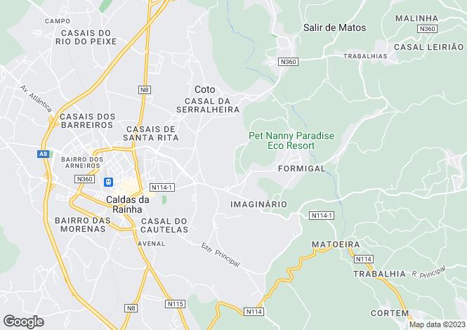 Map for Portugal,Leiria,Caldas da Rainha