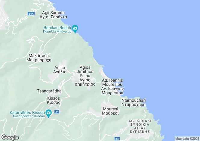 Map for Agios Ioannis, Pilio, Greece