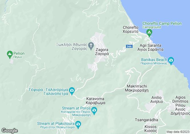 Map for Settlement Zagora, Pilio, Greece
