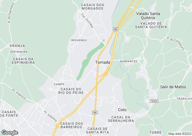 Map for Portugal,Leiria,Tornada