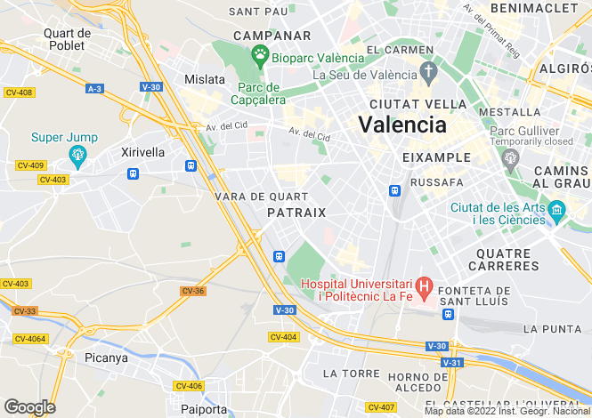 Map for Valencia