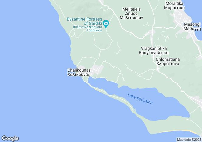 Map for Ionian Islands, Corfu, Chalikouna