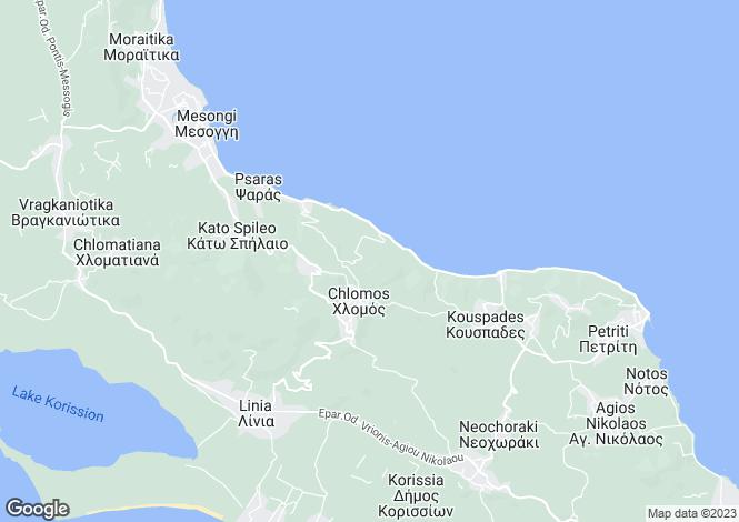 Map for Ionian Islands, Corfu, Boukari
