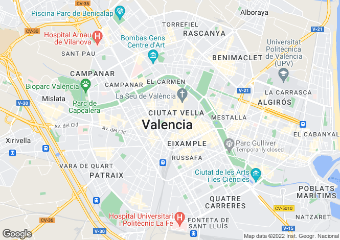 Map for Valencia, Valencia, Valencia