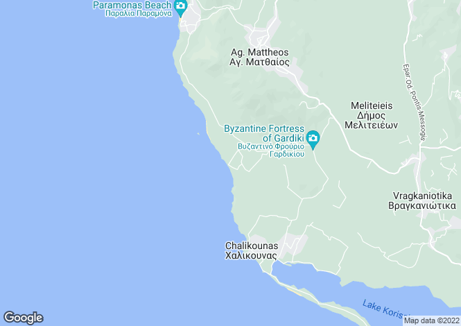 Map for Ionian Islands, Corfu, Prasoudi