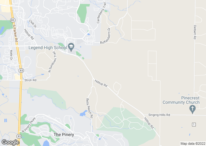Map for USA - Colorado, Douglas County, Parker