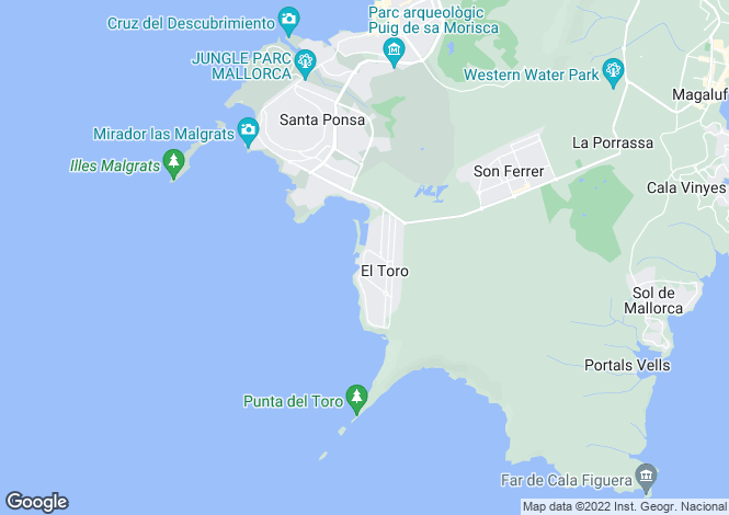 Map for Balearic Islands, Mallorca, El Toro