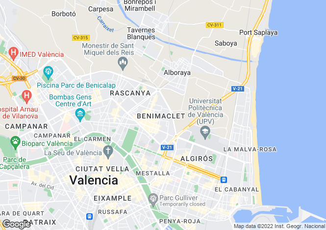 Map for Valencia, Valencia