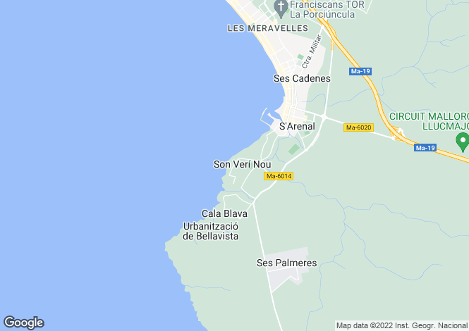 Map for S`Arenal, Mallorca, Balearic Islands