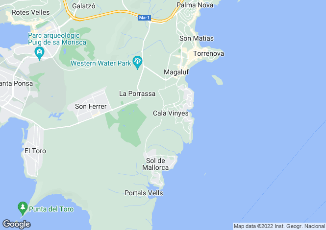 Map for Cala Vinyes, Mallorca, Balearic Islands