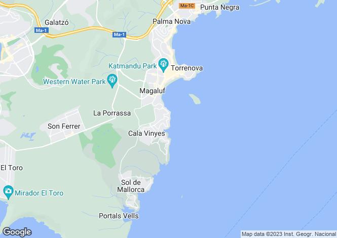 Map for Cala Vinyas, Mallorca, Spain
