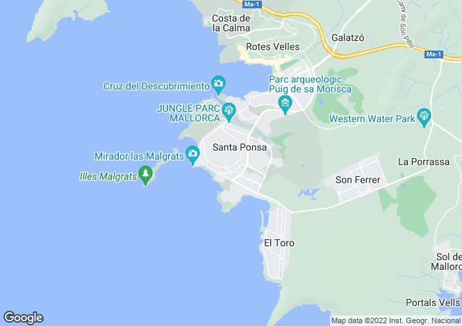 Map for Calvià, Mallorca, Balearic Islands