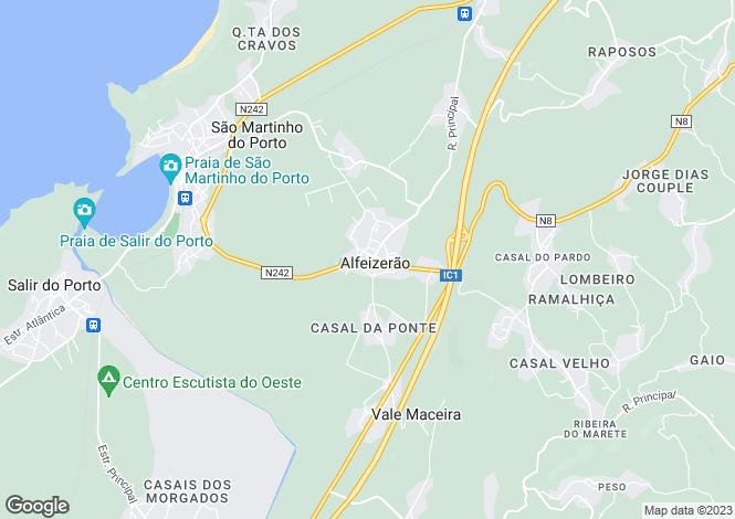 Map for Alfeizerão, Alcobaça, Leiria