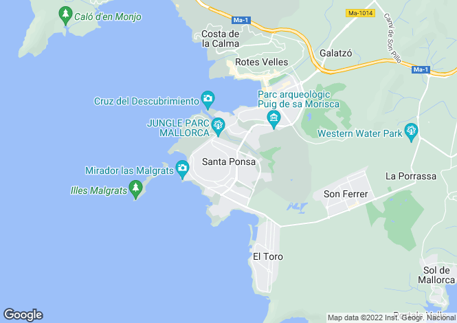 Map for Villa With Sea Views, Nova Santa Ponsa, Mallorca