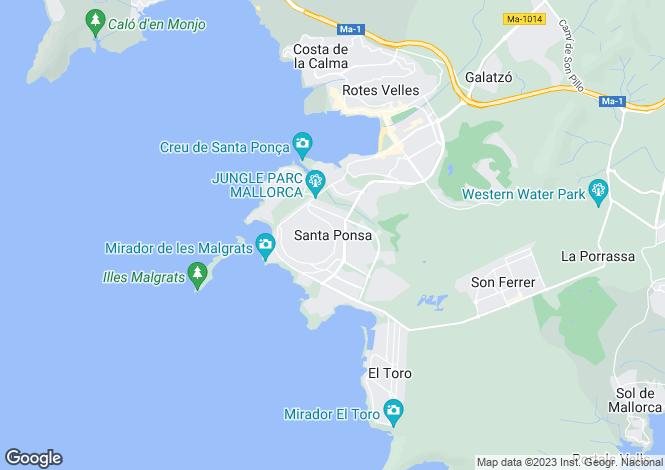 Map for Luminous Villa, Exclusive Location, Nova Santa Ponsa, Mallorca