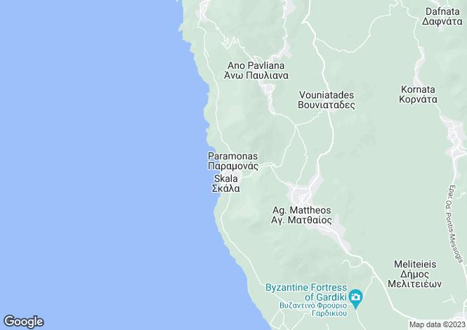 Map for Ionian Islands, Corfu, Paramonas