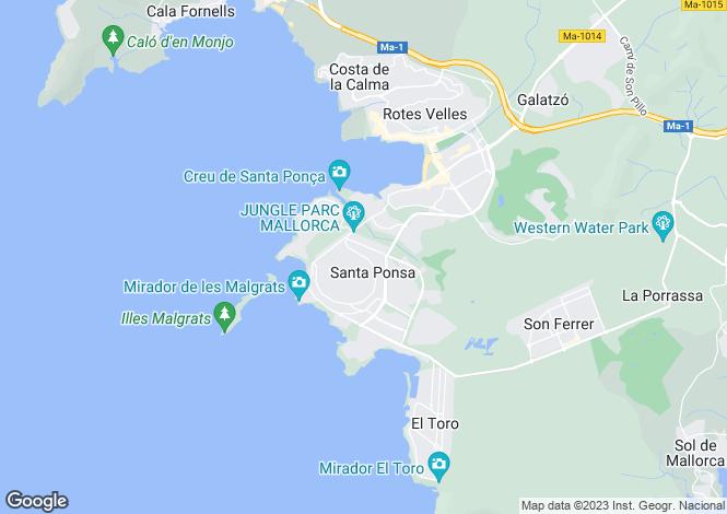Map for Balearic Islands, Mallorca, Nova Santa Ponsa