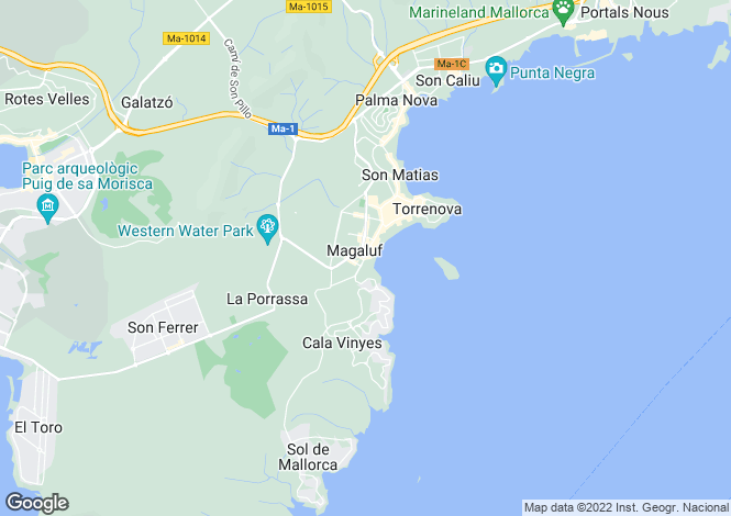 Map for Magalluf, Mallorca, Balearic Islands